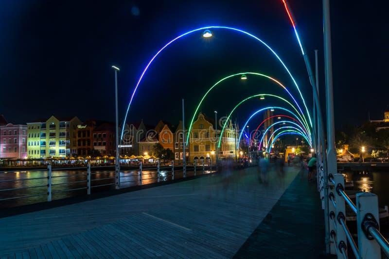 Мост понтона Эммы во время ночи стоковая фотография rf