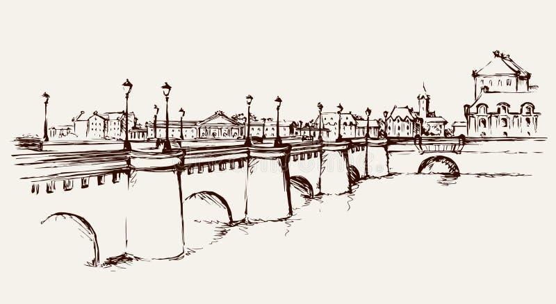 Мост предпосылка рисуя флористический вектор травы иллюстрация вектора