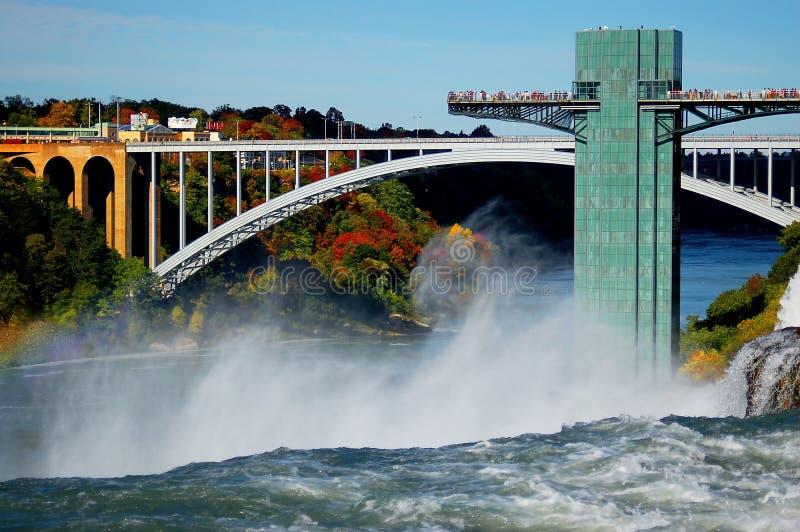 Мост радуги соединил Канаду и Соединенные Штаты и Ниагарский Водопад стоковое изображение