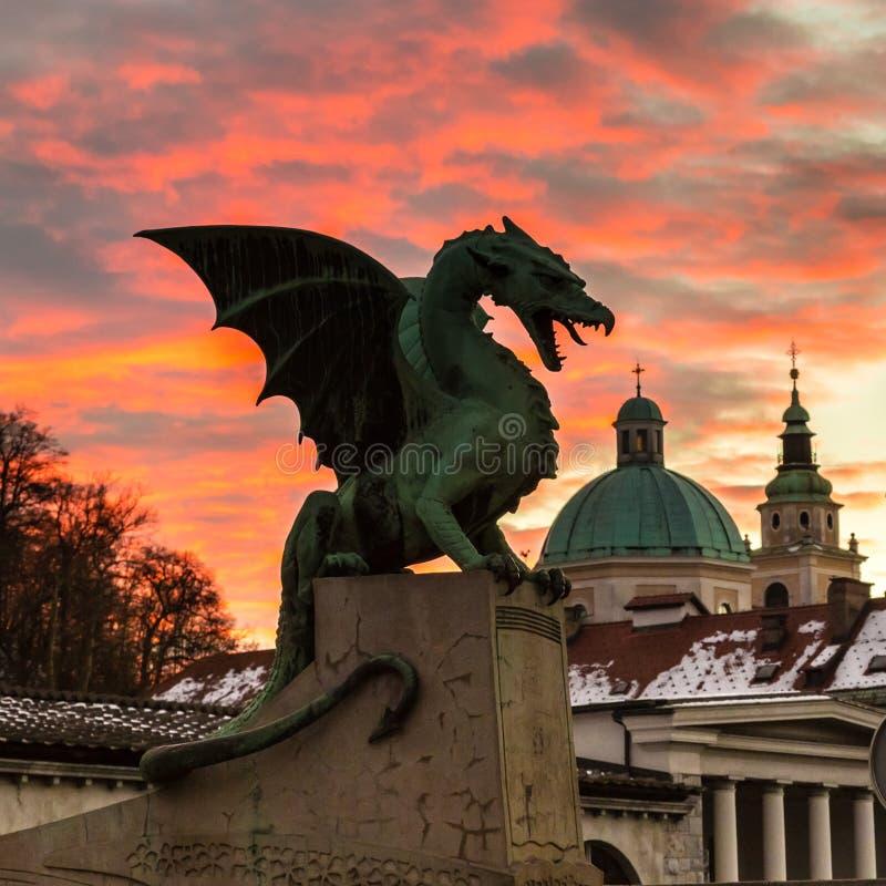 Мост дракона, Любляна, Словения, Европа стоковая фотография