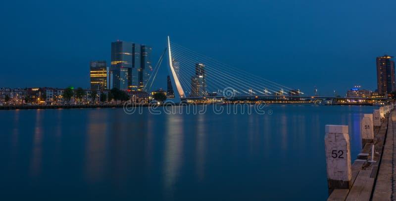 Мост Роттердам Erasmus к ноча стоковые изображения rf