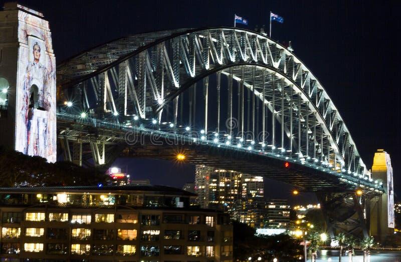 Мост Сидней гавани на ноче стоковое изображение rf
