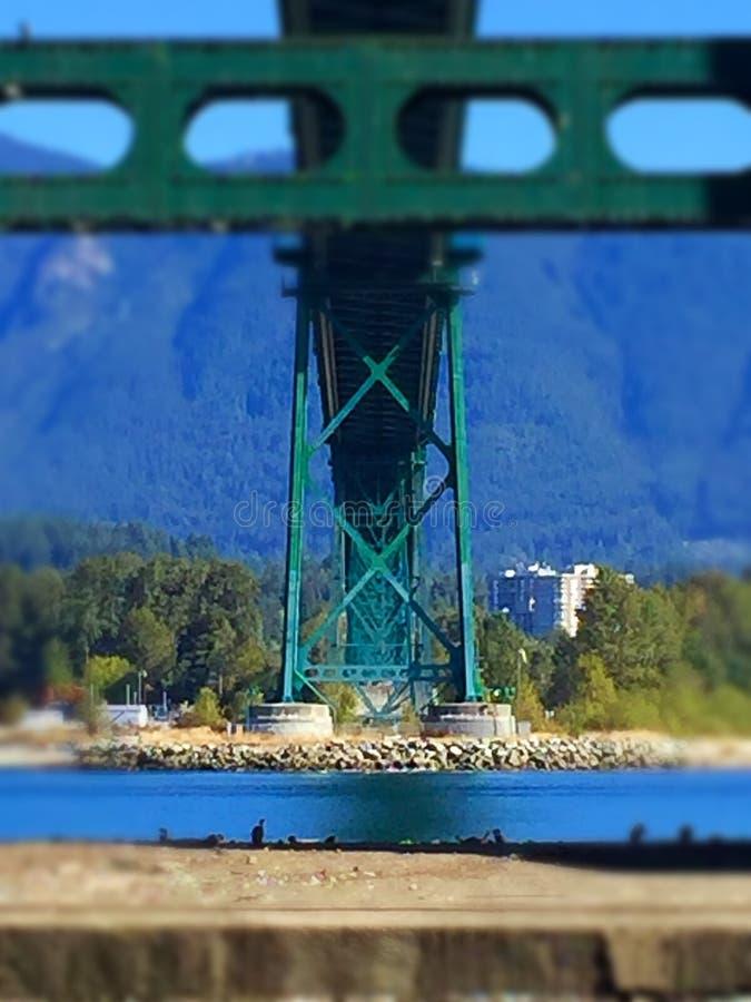 Мост строба львов осмотренный снизу от морской дамбы парка Стэнли стоковое изображение rf
