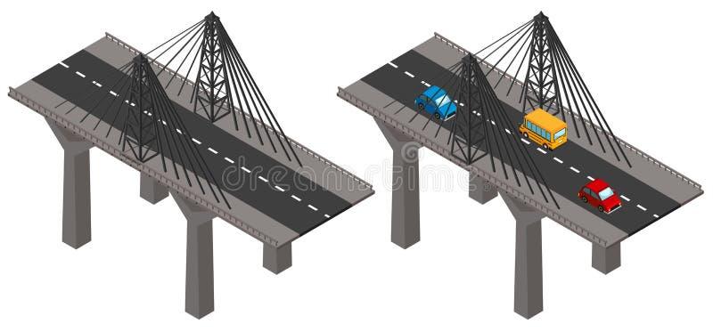 Мост с автомобилями и снаружи иллюстрация вектора