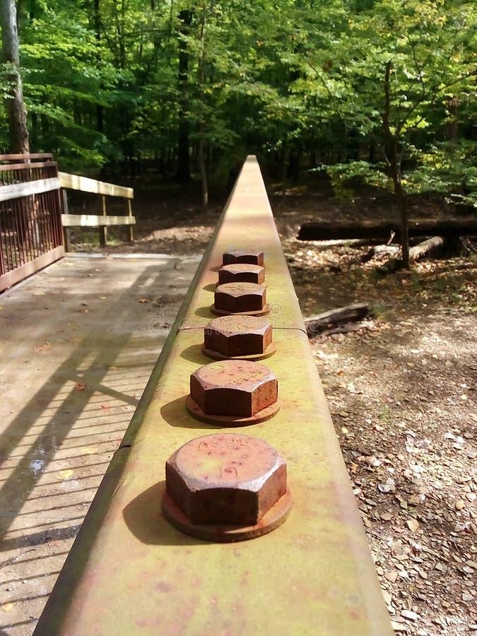 Мост с стальными болтами в середине леса стоковые изображения