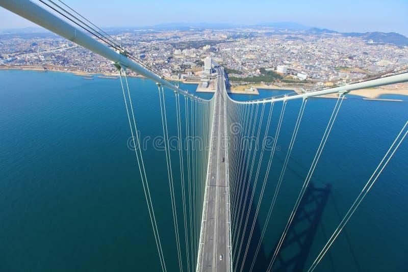 Мост Akashi Kaikyo осматривая Кобе стоковая фотография rf