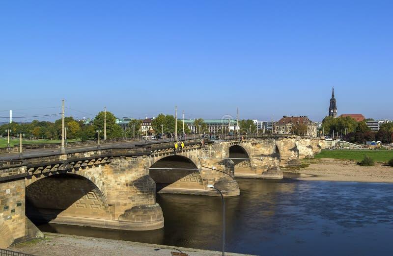 Мост Augustus, Дрезден, Германия стоковые фотографии rf