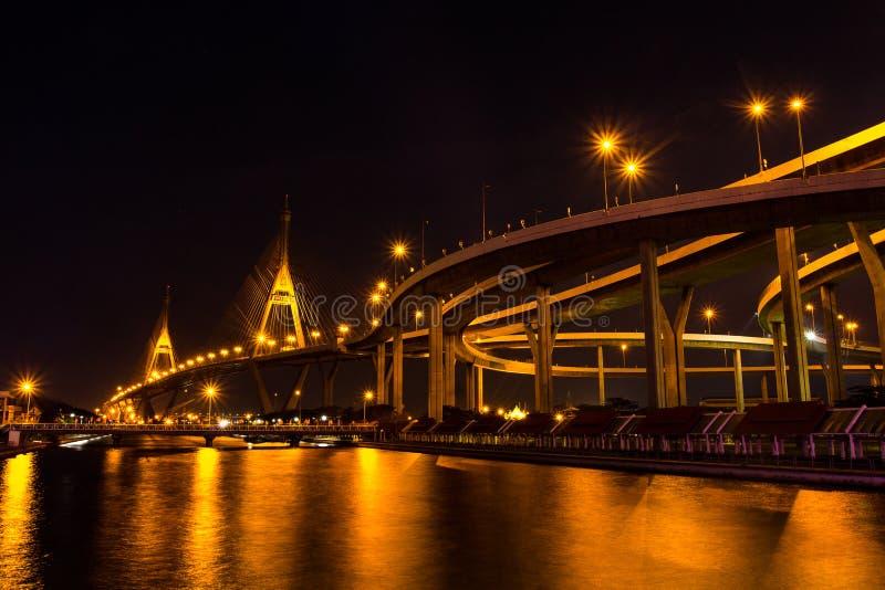 Мост Bhumibol также известный как промышленная кольцевая дорога Bridg стоковое фото rf
