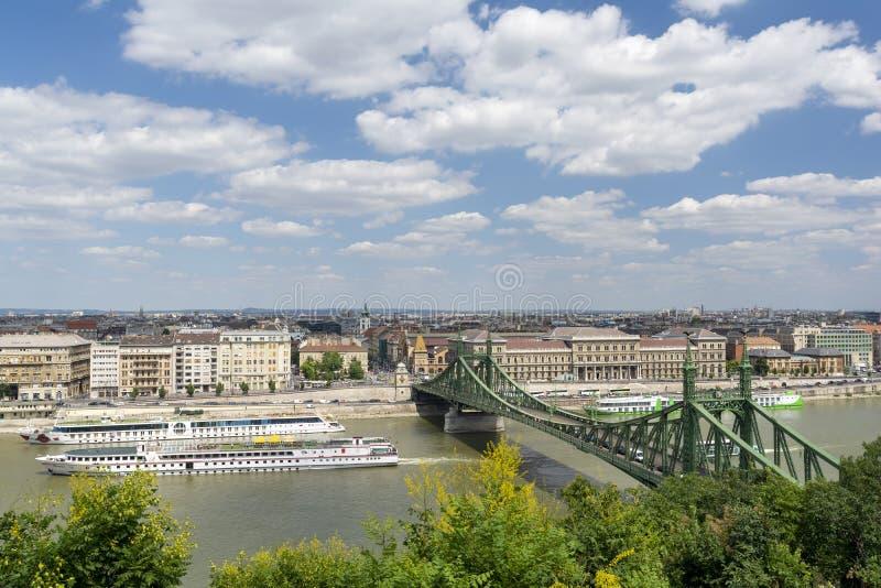 Мост Elisabeth и Дунай, Будапешт, Венгрия стоковые изображения rf