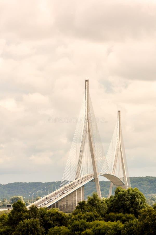 Мост Le Pont de Normandie Нормандии стоковое изображение