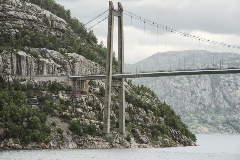 Мост Lysefjord вверх по близкому взгляду от внизу стоковое изображение rf