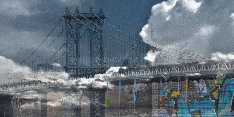 мост manhattan бесплатная иллюстрация