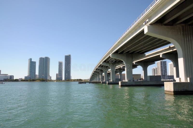 мост miami biscayne залива сверх стоковая фотография