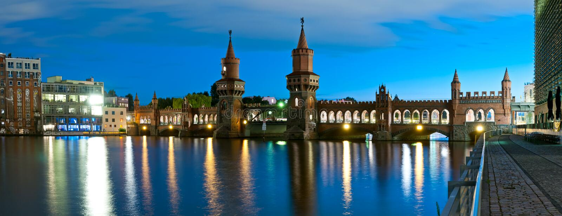 Мост oberbaum панорамы, Берлин, Германия стоковое изображение rf