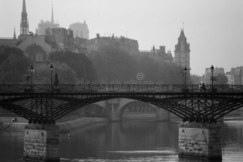 мост paris искусств стоковое фото rf