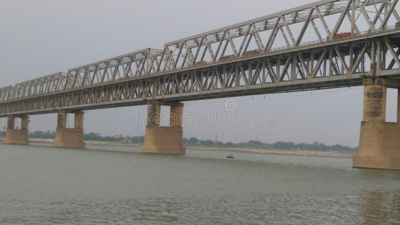 Мост Simaria в Бихаре и реке gangas стоковая фотография