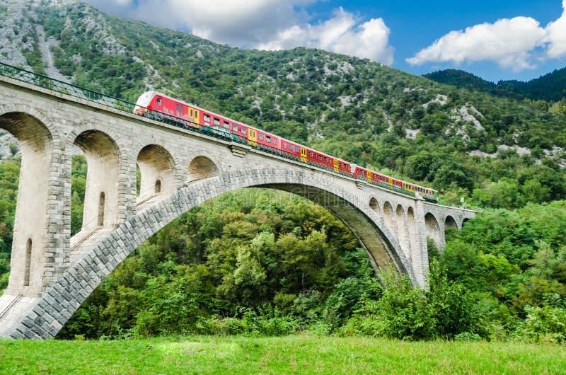 Мост Solkan, Словения стоковые изображения