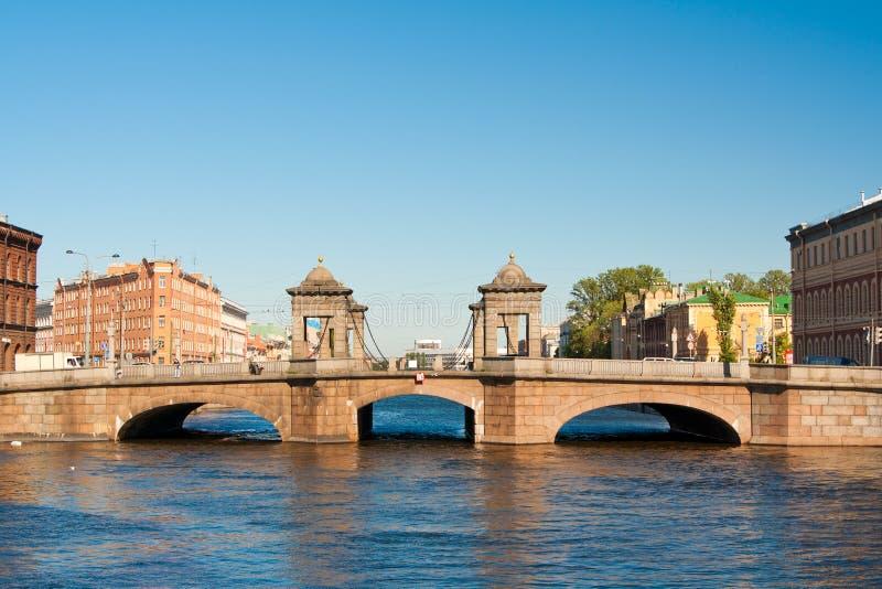 Мост Staro-Kalinkin на реке Fontanka, Санкт-Петербурге petersburg Россия стоковое фото rf