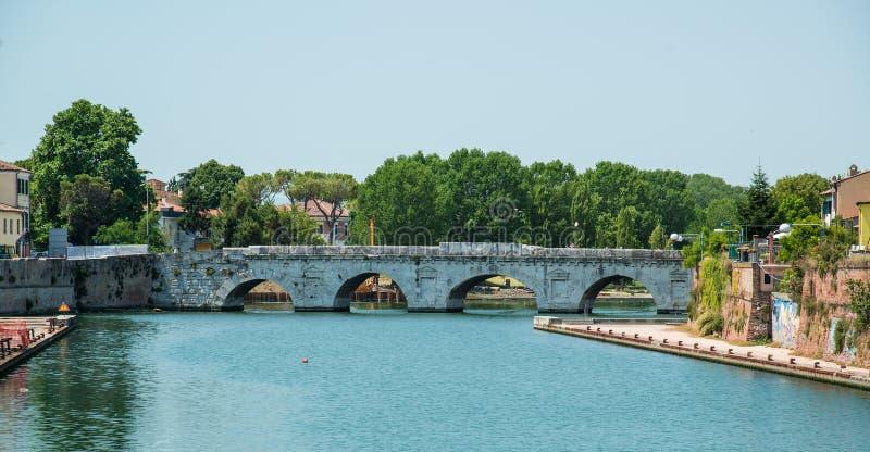 Мост Tiberius в Римини, Италии стоковые фото