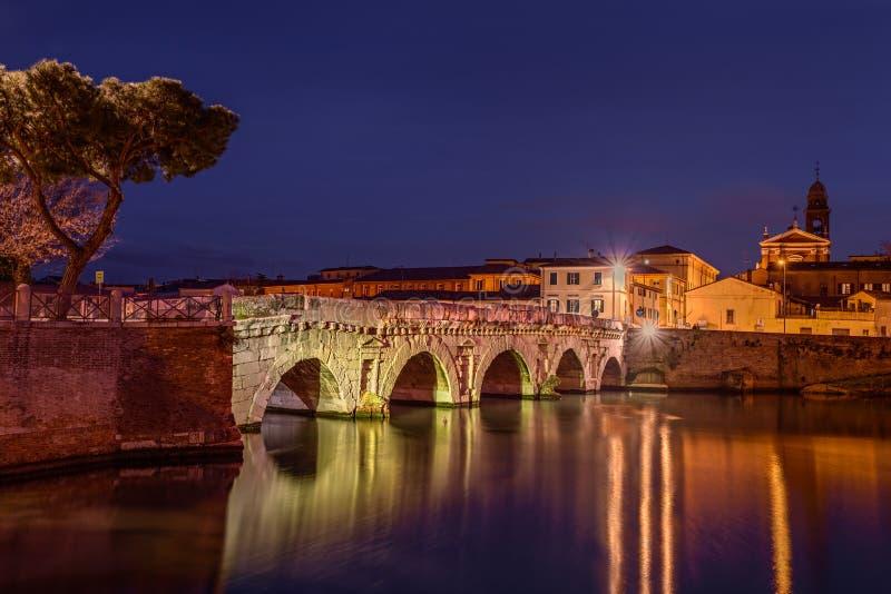 Мост Tiberius в Римини, Италии стоковое изображение rf
