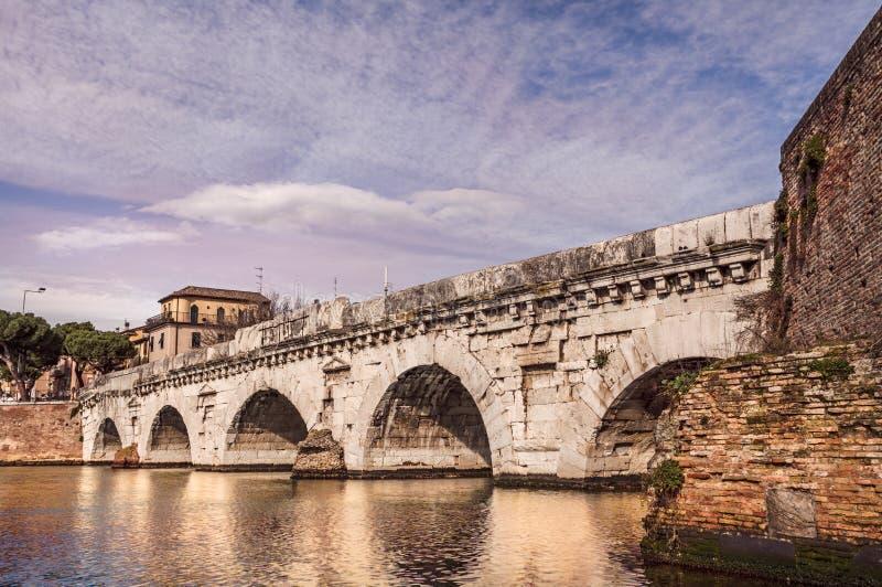 Мост Tiberius в Римини, Италии стоковое изображение