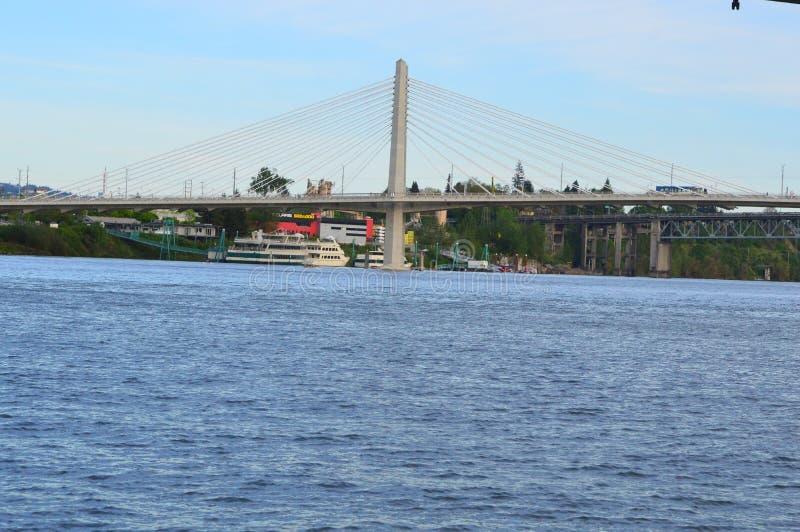 Мост Tilikum от портового района стоковое изображение rf