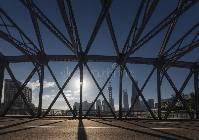 Мост Waibaidu стоковые фотографии rf