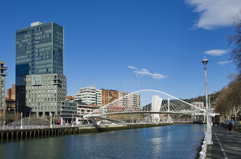 Мост Zubizuri, в Бильбао, Бискайя, Баскония, Испания стоковое фото rf