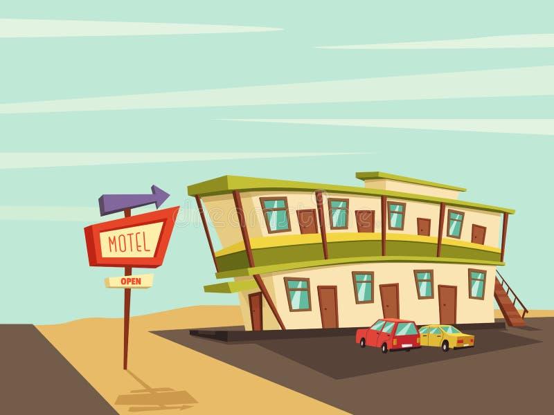 Мотель в пустыне старый signboard иллюстрация мальчика неудовлетворенная шаржем меньший вектор иллюстрация штока