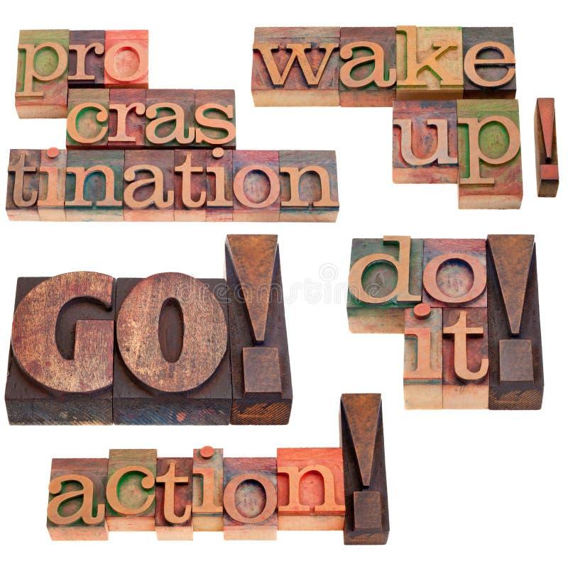 мотивировка отжимает procrastination к стоковые фото