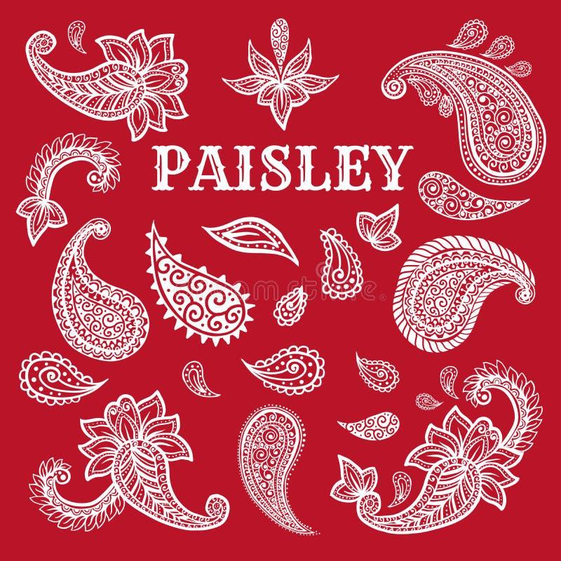 Мотивы Пейсли покрывают краской набор иллюстраций ручки бесплатная иллюстрация