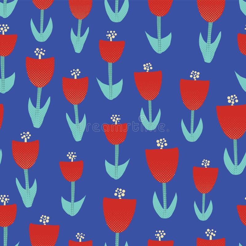 Мотив красной предпосылки вектора иллюстрации цветков тюльпана безшовной абстрактный флористический для поверхностного дизайна Ре бесплатная иллюстрация