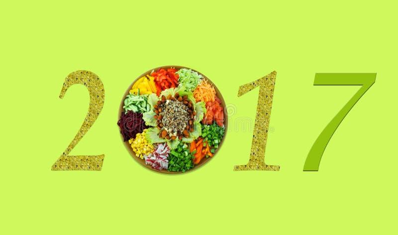Мотив рождества с свежим витамином 2017 салата, здоровое lifestyl стоковые фотографии rf