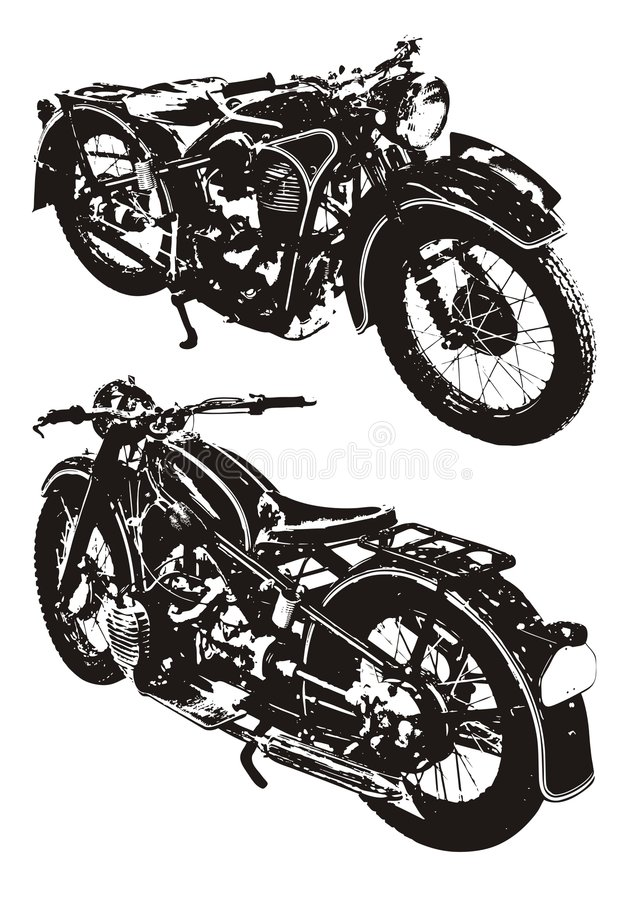 мотовелосипед старый иллюстрация штока