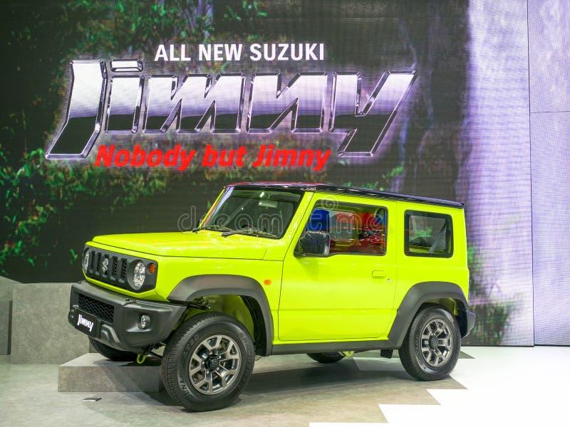 Мотор-шоу Бангкок 2019 - 3-ье апреля 2019 Таиланда: Полностью новое поколение Suzuki Jimny четвертое на мотор-шоу 2019 Бангкоке,  стоковые изображения