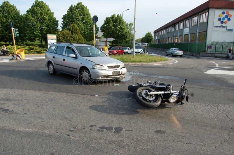 мотоцикл аварии зоны урбанский стоковая фотография rf