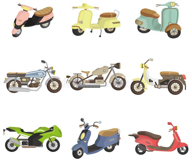 мотоцикл иконы шаржа иллюстрация вектора