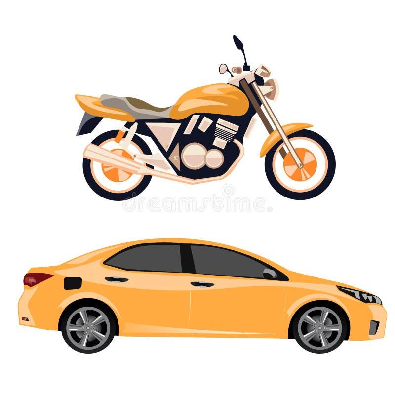 Мотоцикл и автомобиль иллюстрация вектора