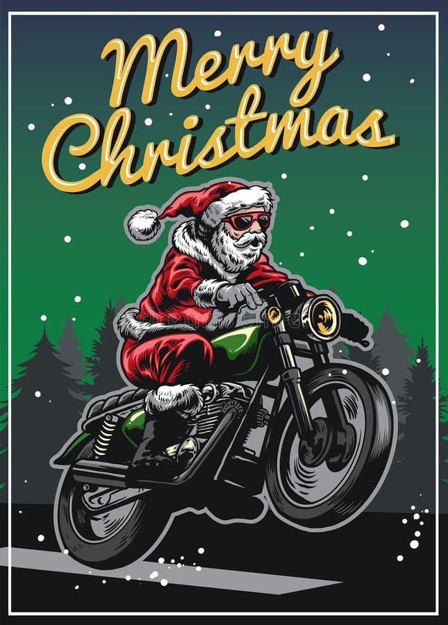 Мотоцикл катания Санта Клауса в дизайне поздравительной открытки рождества иллюстрация вектора