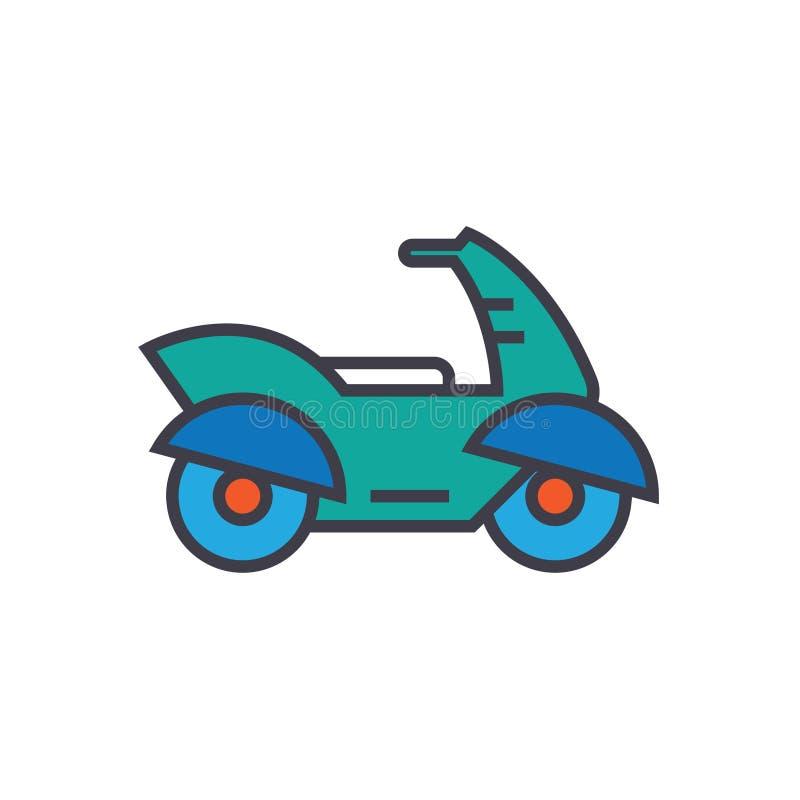 Мотоцикл, линия иллюстрация мотоцилк плоская, вектор концепции изолировал значок иллюстрация вектора