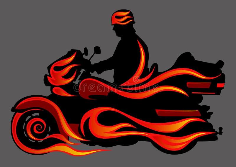 мотоцикл пожара иллюстрация штока