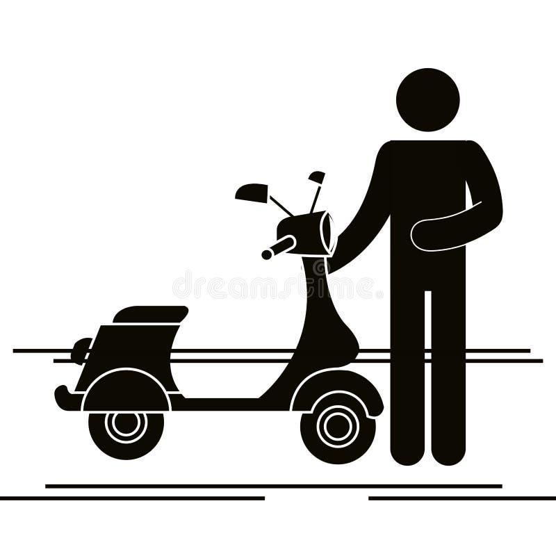 Мотоцикл самоката с силуэтом водителя иллюстрация штока