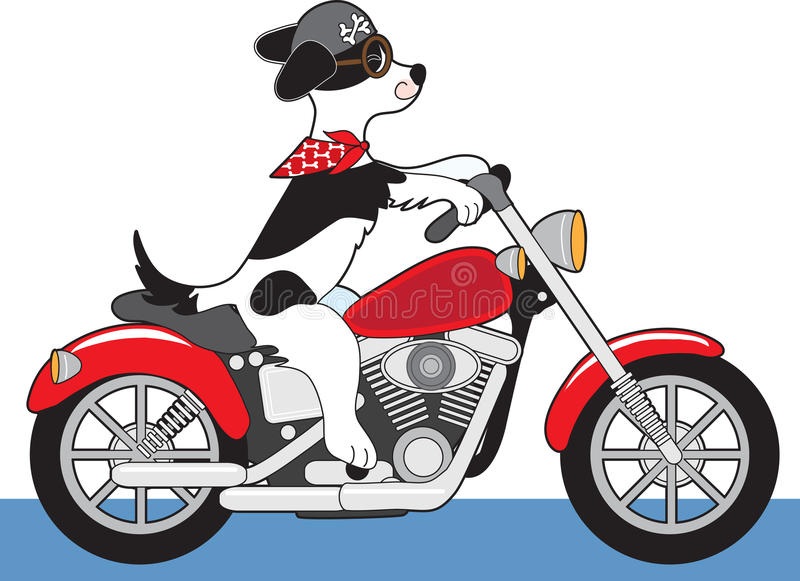 Мотоцикл собаки иллюстрация штока