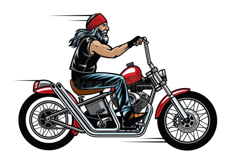 Мотоцикл тяпки катания велосипедиста старика иллюстрация вектора