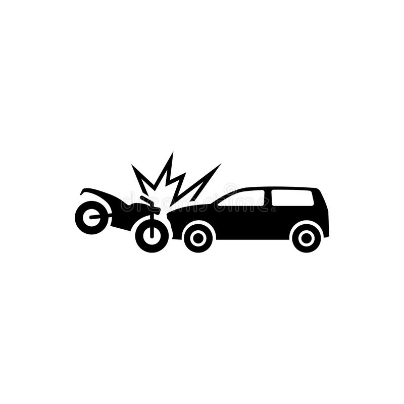 Мотоцикл ударяет автомобиль Значок вектора аварии плоский иллюстрация штока