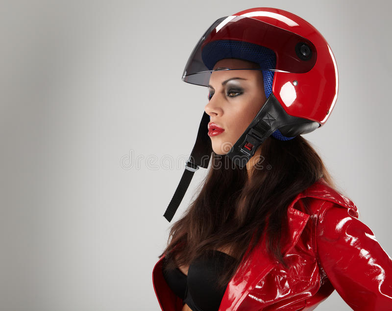 мотоцикл шлема девушки стоковые изображения rf