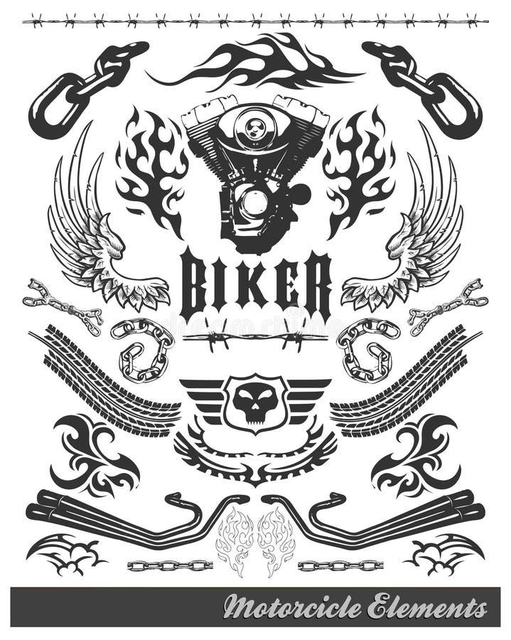 мотоцикл элементов тяпки иллюстрация штока