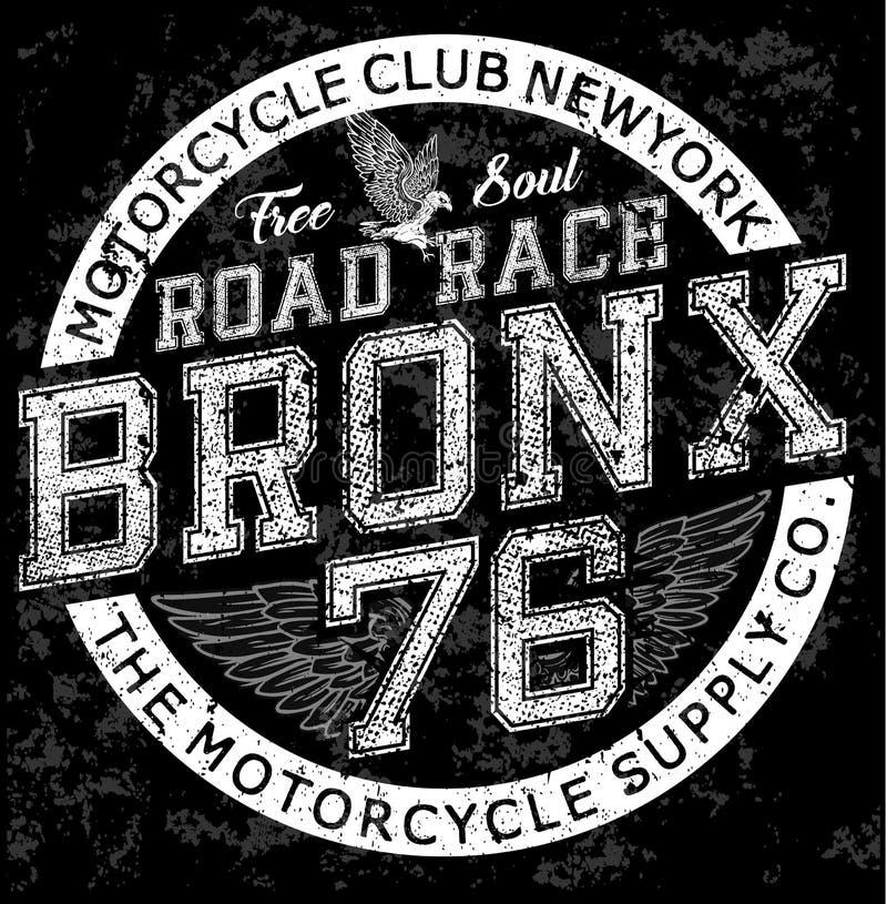 Мотоцикл бронкс графического дизайна футболки человека винтажный иллюстрация штока