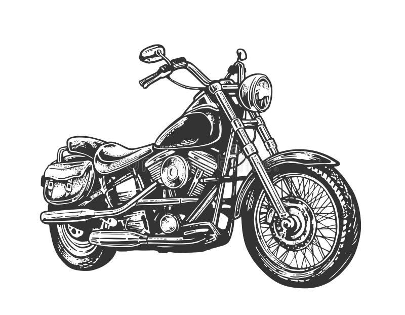 Мотоцикл Иллюстрация выгравированная вектором иллюстрация штока