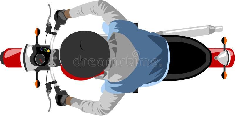 Мотоцикл с взгляд сверху всадника иллюстрация штока